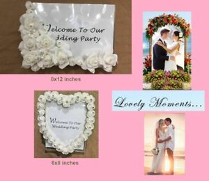 Wedding Picture frames, with White Rose designs 8x12 (A4) & 6x8 (A5) available