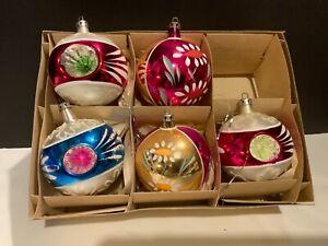 Vintage 5 Large Poland USA Mercury Glass Christmas Tree Ornaments Handblown 3 in