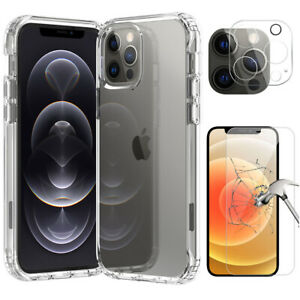 For iPhone 13 Pro Max/13 Mini/12 Clear Case Slim Cover, Camera, Screen Protector
