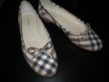 Burberry Signature Plaid Canvas Bow Ballet Shoes 37 US 7