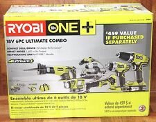 Ryobi ONE+ Model P884 18-Volt Lithium-Ion Ultimate Combo Kit (6-Tool) Brand New.