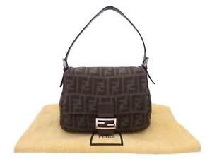 Auth FENDI Zucca Mamma Baguette Shoulder Bag Brown Wool/Leather - e49243f