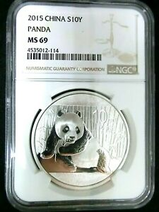 NGC MS69-China 2015 Panda Silver 10 Yuan Almost Perfect GEMBU