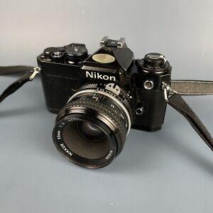Classic Nikon FE Black Tested 35mm SLR Camera + 50mm F2 Lens + Strap