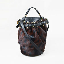 "Alexander Wang Black Brown Leather Leopard Pony Hair Studded ""Diego"" Bucket Bag"