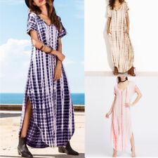 Plus 8-26 Women's Casual V-neck Tie Dye Beach Short Sleeve Long Maxi Sun Dresses