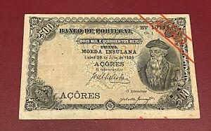 AZORES ACORES PORTUGAL 2500  REIS 1909 PICK 8b BANK NOTE AFFONSO ALBUQUERQUE