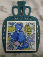 Vintage FM Blue Wine Jug Cast Iron Fruit Tile Trivet Wall Hanging Made in Japan
