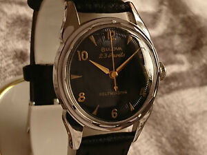 Bulova 1957 '23' vintage automatic watch 10BPAC Black sunburst dial white RGP