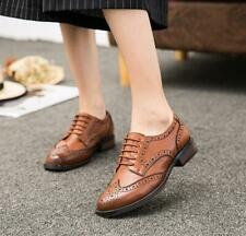 Retro Women's Genuine Leather Oxfords Carved Brogues Formal Wingtip Heel Shoes