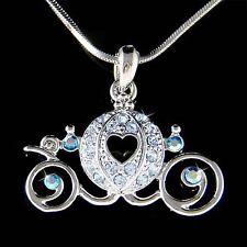 Blue Cinderella Wedding w Swarovski Crystal Pumpkin Carriage Pendant Necklace