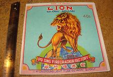 Vintage Lion Globe Brand 40's firecracker label-Po Sing Firecracker Factory Maca