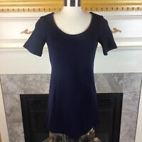 New THEORY P Navy Blue Short Sleeve Seamed Pocketed Tunic Knit Wool Bend Sweater