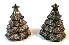 CHRISTMAS TREE SALT AND PEPPER SHAKERS METAL  A4