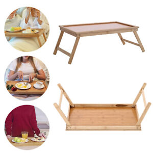 Folding Legs Laptop Table Bed Sofa Portable Wooden Breakfast Tray PC Desk Stand