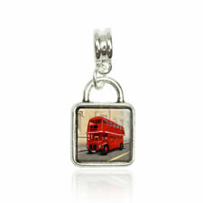 British Red Double Decker Bus European Italian Style Bracelet Bead Sqr Charm