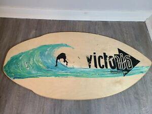 "Vintage Victoria Woody Skimboard with Surfer Laguna Beach 41"" x 21"""