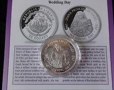 1997 1 oz (environ 28.35 g) Fine Silver Proof Liberia 20 $ pièce + COA Princesse DIANA Mariage