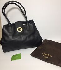 """Kate Spade Extra Large 15"""" X 11.5"""" Black Leather Turnlock Handbag SCRATCHES"""