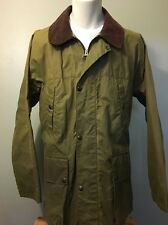 "Paul Stuart Waxed Hunting Jacket Barbour ""style"" Shell Coat Green Mens Large Lg"