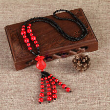 Handcrafted large red lacquer money bag / purse beaded necklace