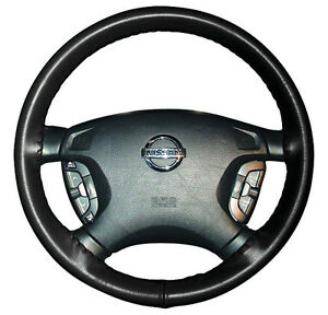 BLACK Custom Fit Leather Steering Wheel Cover - FAST SHIP! - Wheelskins Size AXX