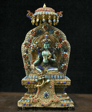 "11.2"" Tibet Silver Filigree turquoise coral Gem Green Tara Goddess Buddha Statue"