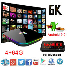 2019 Android 9.0 6K Q Plus 4+64G Quad Core Smart TV Box WIFI 3D Keyboard H18+ DE