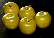SET of 5 VINTAGE 1970's LARGE REALISTIC LOOKING PAPER MACHE GREEN APPLES DECOR
