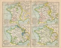 B6270 Historical maps of France - Carta geografica antica del 1902 - Old map