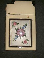 Vintage Marathon Slide-A-Lite Guilloche Lighter Compact Cigarette Enamel Case