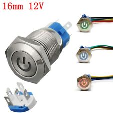 16mm 12V Car Metal Push Button Switch LED Latching On/Off & Socket Plug Wire