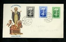 Postal History Malta Sc #243-245 FDC Dogma Immaculate Conception 1954 Valletta