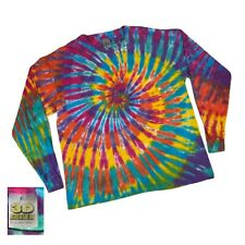 3D Emblem 80s Vintage Spiral Tie Dye Long Sleeve Rare T Shirt Blank Colorful