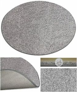 Pewter Gray - Frieze Style Round Area Rugs 100% PureColor Solution Dyed