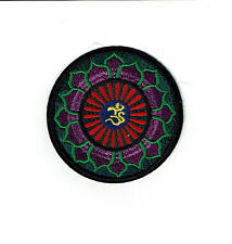 "3"" Green & Purple Lotus Om Iron On patch YOGA Aum infinity ॐ patches ohm"
