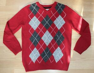 Urban Pipeline Boys Red Argyle Pullover Holiday Sweater Size Large L