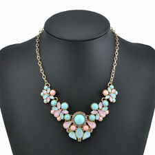 New Very Pretty Bib Statement Chunky Necklace. Pink Blue Diamante. x1