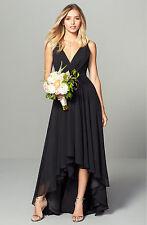 MONIQUE LHUILLIER Bridesmaids | Deep V-Neck Chiffon Hi-Lo Dress Gown Black 10