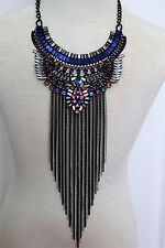 Multicolor Chain Fringe Statement Necklace Long