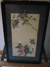 Vintage Faux 19th Century Chinese Bird and flowers Painting in Ornate Frame