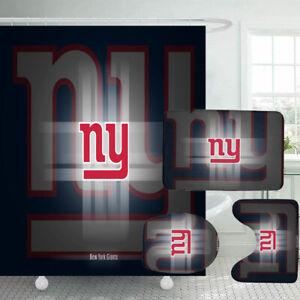New York Giants Bathroom Rugs 4PCS Shower Curtain Non-Slip Toilet Lid Cover Gift
