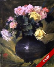 DARK VASE OF PINK & YELLOW ROSES FLOWERS FLORAL PAINTING ART REAL CANVAS PRINT