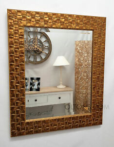 John Lewis Gold Mosaic Wall Mirror Solid Wood Frame Bevelled 66x56cm (26x22inch)