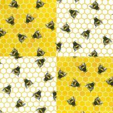 100% Cotton Poplin Honeycomb Bumble Bee Dress Craft Fabric Material 112cm wide