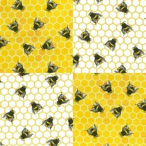 100% Cotton Poplin, Summer Time Honeycomb Bumble Bee Dress Fabric Material
