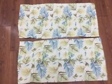 TROPICAL PILLOWCASES SET OF 2 KING SIZE YELLOW GREEN BLUE PALM LEAVES