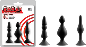 Back Up Silicone Butt Plug Set (Black,8cm long) Anal Toy Unisex. Express to You