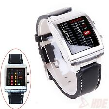 Mens Square LED Binary Watch With Faux Leather Wrist Strap Fashion Casual Sport