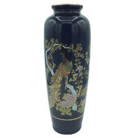 """Gorgeous ASAHI JAPAN VASE with Peacock, Red Brown Gold, 11"""", Vintage & PERFECT"""